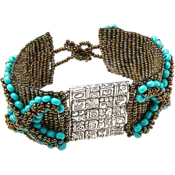 Turquoise and Copper Colored Bead Bracelet (Guatemala)