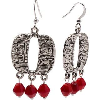 Pewter Metal and Coral Bead Mayan-inspired Dangle Earrings (Guatemala)