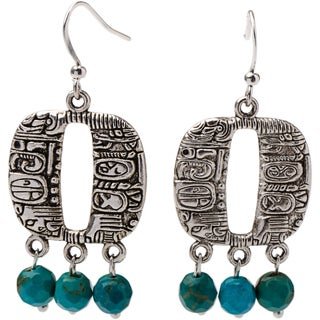 Pewter Mayan Earrings with Faceted Jasper Stones (Guatemala)