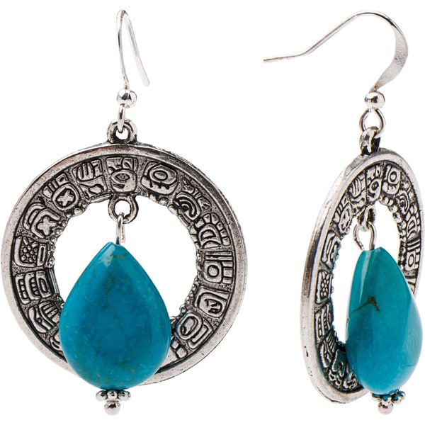 Pewter Metal and Turquoise Teardrop Mayan Earrings (Guatemala)