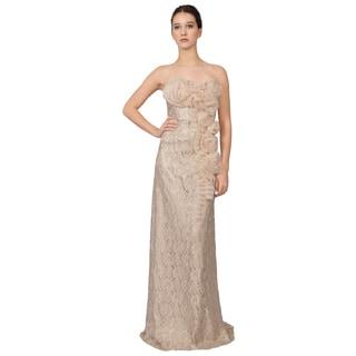 Teri Jon Strapless Blush Lace Rosette Evening Dress