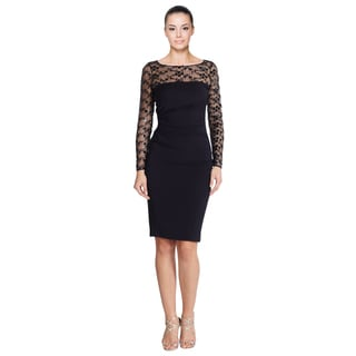 David Meister Navy Sequin Lace Ruched Jersey Long Sleeve Illusion Top Cocktail Dress