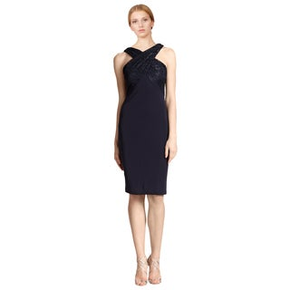 David Meister Navy Blue Lace Jersey Cross-neck Fitted Cocktail Evening Dress