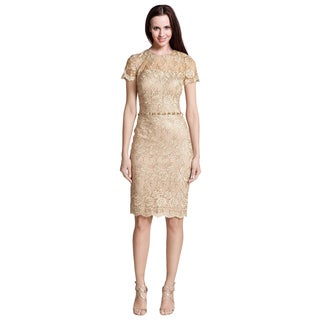 David Meister Beige Short Sleeve Lace Beaded Pearl Cocktail Evening Dress
