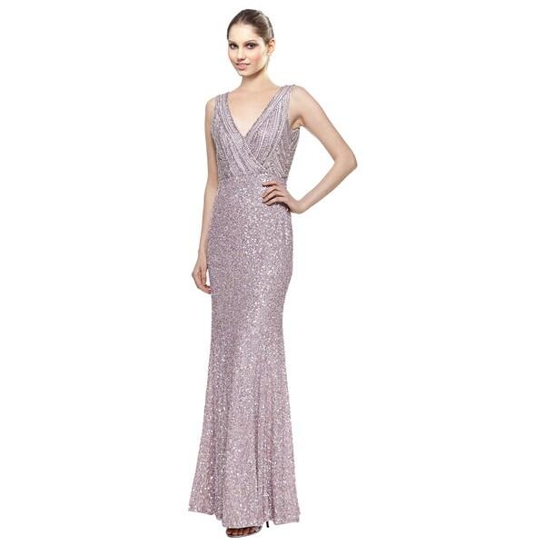 Rachel Gilbert Sleeveless Lavender Sequined Mermaid Evening Dress