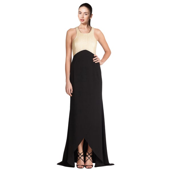 Sachin + Babi Black Noir Serena Beaded Tulip Hem Evening Dress