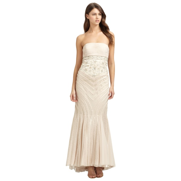 Sue Wong Beige Beaded Ruched Ruffle Trim Strapless Evening Dress