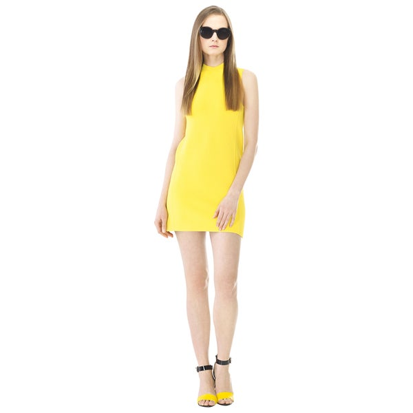 Ralph Lauren Yellow Sleeveless Mockneck Shift Knit Day Evening Dress