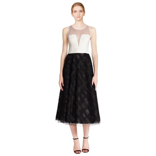Sachin + Babi Black Noir Ribbon Trim Sleeveless Tea Length Evening Dress
