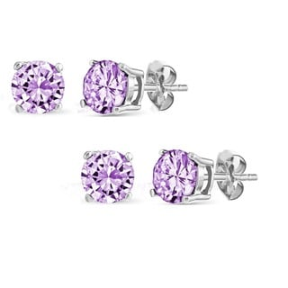 Set of 2 Pairs Sterling Silver 2ct Genuine Amethyst Stud Earrings