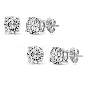 Set of 2 Pairs Sterling Silver 2ct Genuine White Topaz Stud Earrings