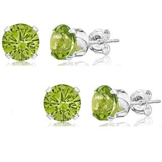 Set of 2 Pairs Sterling Silver 2ct Genuine Peridot Stud Earrings