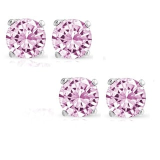 Pori Set of 2 Pairs Sterling Silver 2ct Genuine Pink Sapphire Stud Earrings