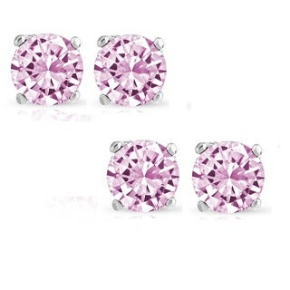 Set of 2 Pairs Sterling Silver 2ct Genuine Pink Sapphire Stud Earrings