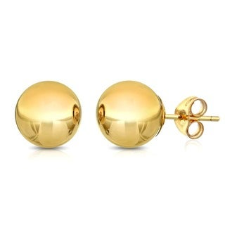 Pori 14k Goldplated Sterling Silver 10mm Ball Stud Earrings