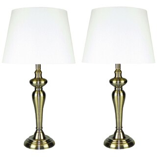 1-light Antique Brushed Goldtone Finish Lamp (Set of 2)