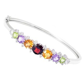 """Sterling Silver Multi-Gemstone Bangle Bracelet (Available Size 6.5"""",7.25"""" and 8 """" inches)"""