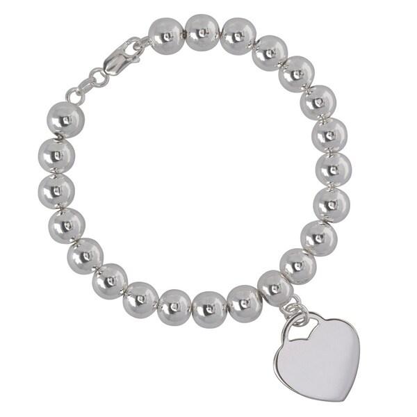 Sterling Silver Italian Heart Charm Bead Bracelet
