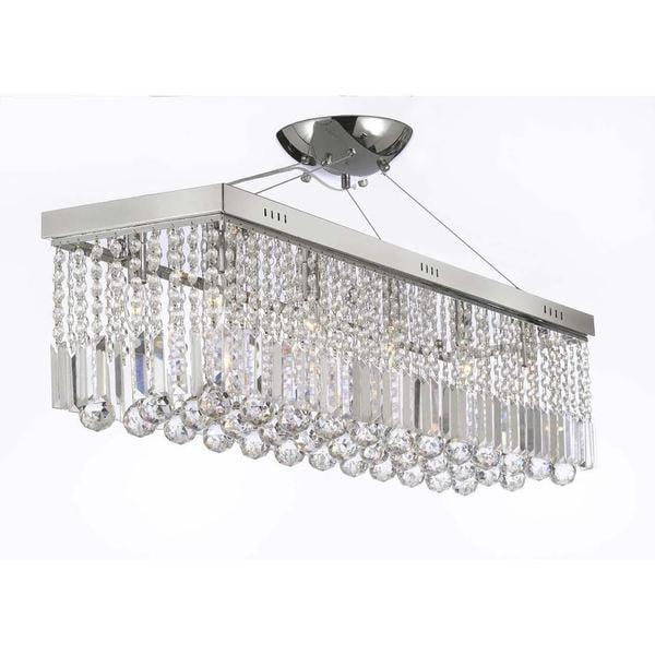 Contemporary  Light Crystal Modern Linear Chandelier Pendant Light Fixture Free Shipping