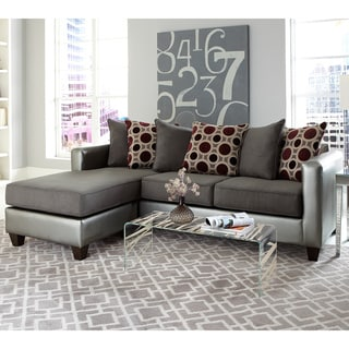 2-piece Pewter Bi-cast/ Microfiber Reversible Sectional