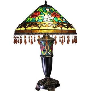 Warehouse of Tiffany Suzarra Tiffany-style Double Lit Table Lamp
