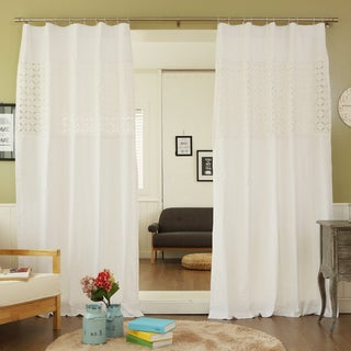 84-inch Flower Eyelet Embroidered Cotton Rod Pocket Curtain Panel (Set of 2)