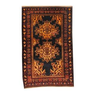 Herat Oriental Afghan Hand-knotted Semi-antique Tribal Balouchi Burgundy/ Black Wool Rug (3'8 x 5'8)