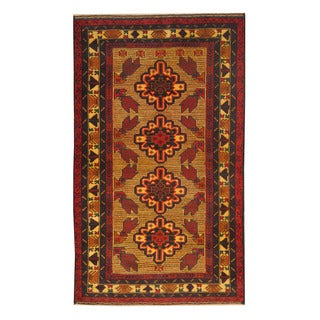 Herat Oriental Afghan Hand-knotted Semi-antique Tribal Balouchi Red/ Black Wool Rug (3'9 x 6'3)