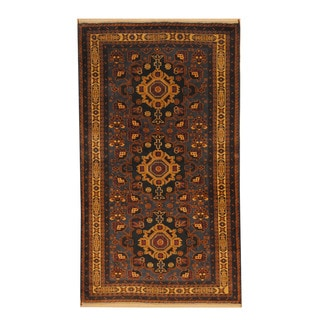 Herat Oriental Afghan Hand-knotted Semi-antique Tribal Balouchi Black/ Beige Wool Rug (3'6 x 6'2)