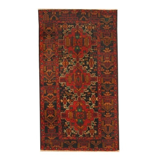 Herat Oriental Afghan Hand-knotted Semi-antique Tribal Balouchi Red/ Black Wool Rug (3'6 x 6'3)