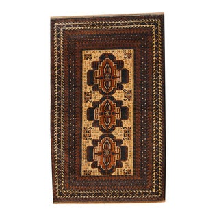 Herat Oriental Afghan Hand-knotted Semi-antique Tribal Balouchi Brown/ Ivory Wool Rug (3'10 x 6'2)