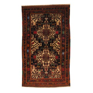 Herat Oriental Afghan Hand-knotted Semi-antique Tribal Balouchi Black/ Red Wool Rug (3'6 x 5'10)