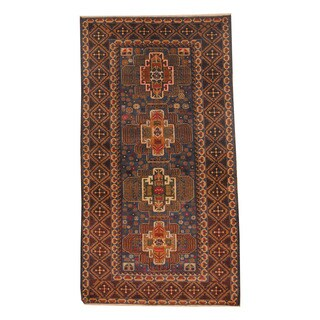 Herat Oriental Afghan Hand-knotted Semi-antique Tribal Balouchi Black/ Navy Wool Rug (3'8 x 6'9)