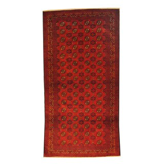 Herat Oriental Afghan Hand-knotted Semi-antique Tribal Balouchi Red/ Ivory Wool Rug (3'4 x 6'6)