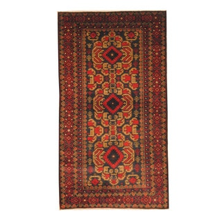 Herat Oriental Afghan Hand-knotted Semi-antique Tribal Balouchi Black/ Red Wool Rug (3'8 x 6'8)