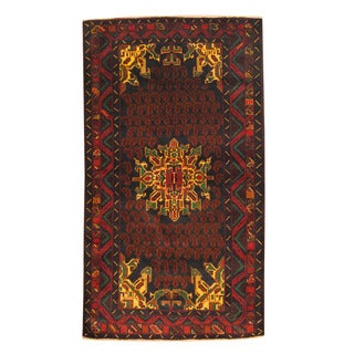 Herat Oriental Afghan Hand-knotted Semi-antique Tribal Balouchi Black/ Red Wool Rug (3'8 x 6'6)
