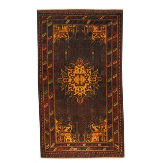 Herat Oriental Afghan Hand-knotted Semi-antique Tribal Balouchi Black/ Red Wool Rug (3'7 x 6'3)