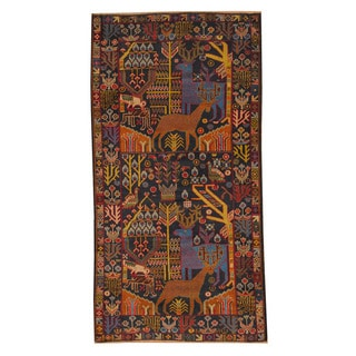 Herat Oriental Afghan Hand-knotted Semi-antique Tribal Balouchi Black/ Navy Wool Rug (3'4 x 6'6)