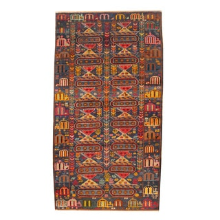 Herat Oriental Afghan Hand-knotted Semi-antique Tribal Balouchi Black/ Red Wool Rug (3'6 x 6'6)