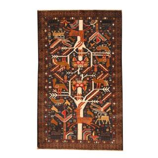 Herat Oriental Afghan Hand-knotted Semi-antique Tribal Balouchi Black/ Brown Wool Rug (3'9 x 6'2)