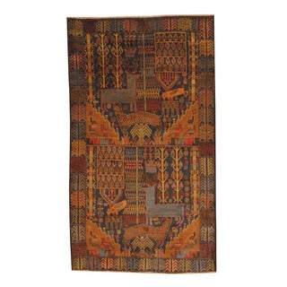 Herat Oriental Afghan Hand-knotted Semi-antique Tribal Balouchi Black/ Brown Wool Rug (3'8 x 6'4)