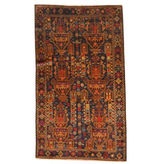Herat Oriental Afghan Hand-knotted Semi-antique Tribal Balouchi Black/ Red Wool Rug (3'10 x 6'7)