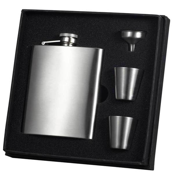 Visol Derek Satin Hip Flask Gift Set