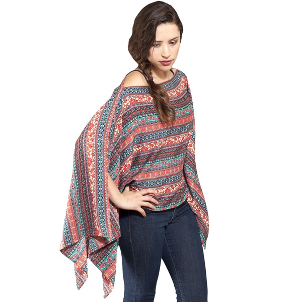 Women's Printed Boho Chic Summer Pancho Top