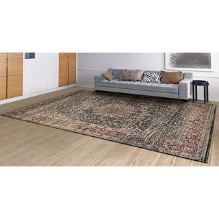 Zahara Lotus Medallion/ Blk/ Red/ Oatmeal Area Rug (7'10 X 11'2)