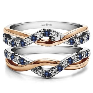 10k Rose/ White Gold 1/10ct TDW Diamond and Sapphire Infinity Engagement Ring Guard Enhancer