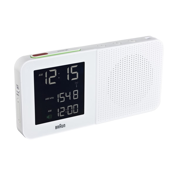 Braun Digital LCD Global FM/AM Radio Controlled White Alarm Clock