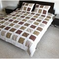 100-percent Cotton Multi Check Queen Size Quilt Set (India)