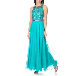 J Laxmi Women's Aqua/ Mercury Chiffon Social Occasion Gown