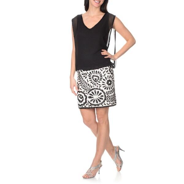 J Laxmi Women's Ivory/Black Popover Dress